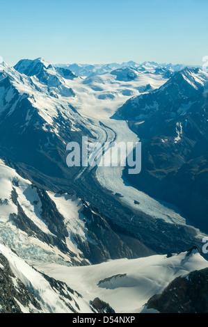 Vue aérienne de Tasman Glacier, Alpes du Sud, Westland, Nouvelle-Zélande Banque D'Images