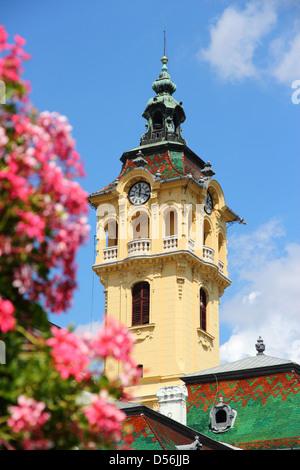 Szeged, Hongrie. Dans la ville de Csongrad. Hôtel de ville et de fleurs. Banque D'Images
