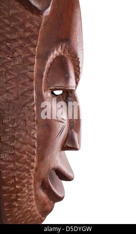 Profil de l'Afrique masque sur fond blanc Banque D'Images