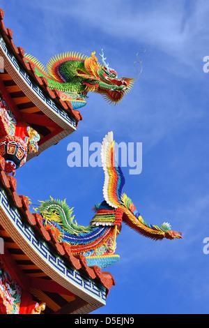 Détail sur le toit du temple à Bishan Temple de Neihu District, Taipei, Taiwan. Banque D'Images