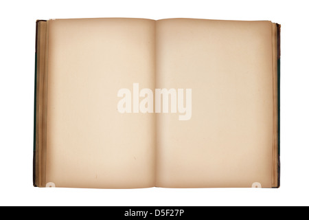 Ouvrez old vintage livre avec des pages blanches isolated on white Banque D'Images