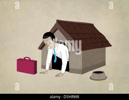Image d'illustration de l'homme d'affaires de niche représentant le chômage Banque D'Images
