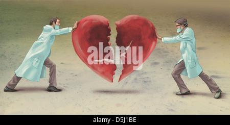 Image d'illustration de médecins de se joindre à cœur représentant la chirurgie cardiaque Banque D'Images