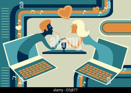 Illustration de couple représentant la datation en ligne Banque D'Images