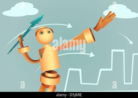 Illustration de l'homme d'affaires robotique flèche visant d'atteinte de la cible Banque D'Images