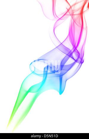 La fumée de couleur résumé isolated on white Banque D'Images