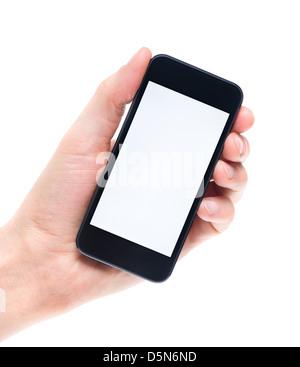 Men's hand holding et montrant mobile smartphone moderne avec écran vide. Isolé sur fond blanc. Banque D'Images