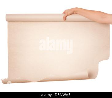 Main tenant le papier feuille sur fond blanc Banque D'Images