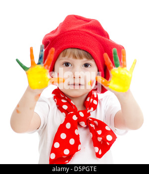 Cheerful girl kid avec mains peint, isolé sur fond blanc Banque D'Images