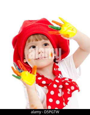 Cheerful girl enfant peint avec les mains, isolated over white Banque D'Images