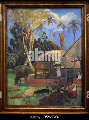 Paul Gauguin (1848-1903). Le peintre français. Les porcs noirs, 1891. Huile sur toile, 1re période de Tahiti. Musée Banque D'Images