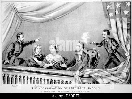 L'assassinat d'ABRAHAM LINCOLN au Ford's Theatre, New York, le 15 avril 1865 montre une gravure de Curier & Ives Banque D'Images