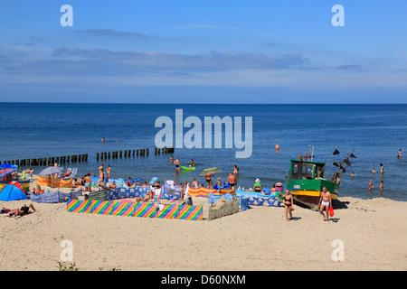 Niechorze (Horst) plage, mer baltique, occidentale, Pologne Banque D'Images