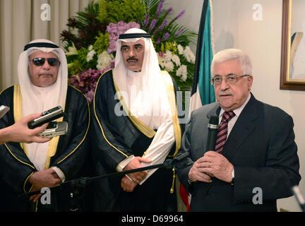 15 avril 2013 - Koweït, Koweït, Koweït - Le président palestinien Mahmoud Abbas parle durant la cérémonie d'inaugurer Banque D'Images