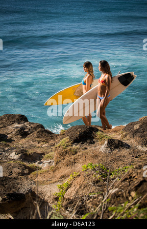 Surfers carrying boards on beach Banque D'Images