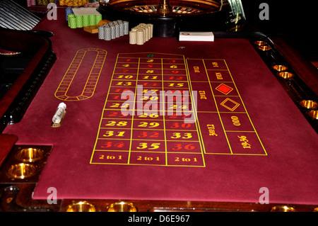 Roulette casino roullette roue table jetons effacer le tableau gagnant gagner argent jeu joueur anglais Banque D'Images