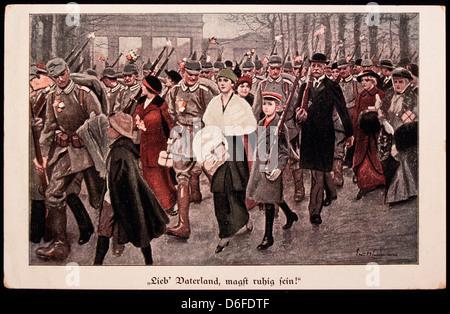 Lieb Vaterland, Magst Ruhig Sein, Chère Patrie, vous mai être pacifiques, Carte postale allemande, 1918