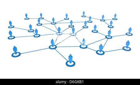Rendu 3D de haute qualité de gens d'affaires les connexions réseau concept. Isolé sur fond blanc