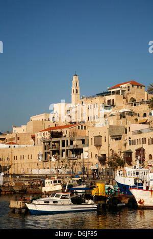 Vue sur le port et la vieille ville de Jaffa, Tel Aviv, Israël, Moyen Orient Banque D'Images