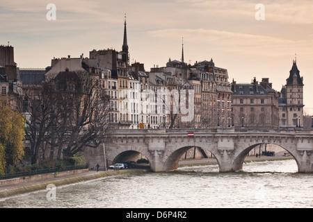 Pont Neuf et l'Ile de la Cité à Paris, France, Europe Banque D'Images