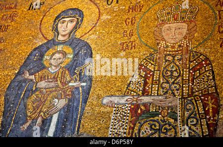 Mosaïque de Vierge Marie et Enfant Jésus Christ dans le musée Sainte-Sophie, UNESCO World Heritage Site, Istanbul, Banque D'Images