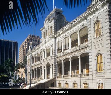 USA, Hawaii, Oahu, Honolulu, Iolani Palace est le seul palais royal aux ETATS UNIS Banque D'Images