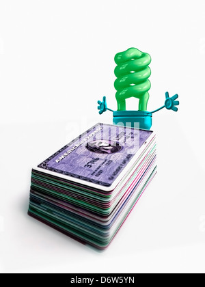 L'énergie de remplacement, de l'argent de l'énergie alternative Concept Concept Argent comptant carte de débit autre Banque D'Images