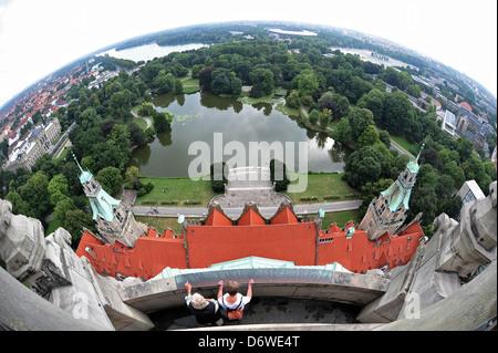 Hanovre, Allemagne, vue à partir de la nouvelle mairie dans la Maschteich et Maschsee