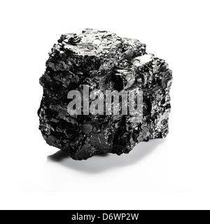 Gros morceau de charbon isolé sur fond blanc Banque D'Images
