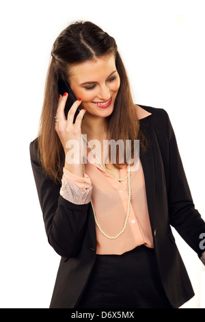 Portrait d'une jeune et belle de la conversation au téléphone avoir Banque D'Images