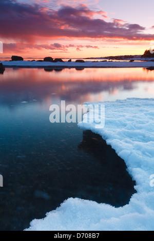Paysage d'hiver à Larkollen côtières à Rygge kommune, Østfold fylke, la Norvège. Banque D'Images