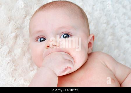 Portrait de beau bébé de 3 mois et de succion sur sa main pour soulager lui-même Banque D'Images