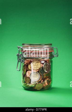 Hambourg, Allemagne, EUR et Centmuenzen dans un pot Banque D'Images