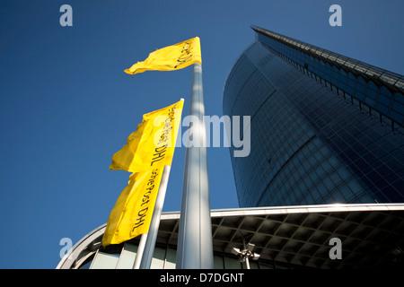 La tour de la poste, le siège de l'entreprise de logistique DHL Deutsche Post à Bonn, Rhénanie du Nord-Westphalie, Allemagne,
