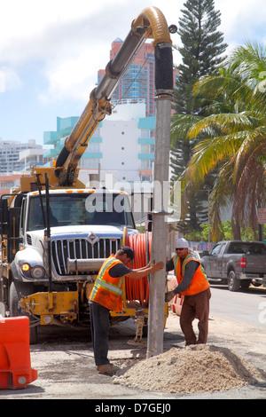 Floride, FL, Sud, Miami Beach, SoBe, quartier art déco, « Ocean Drive », route, sous construction de nouveaux chantiers de construction, réparation, amélioration du capital Banque D'Images
