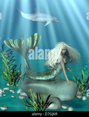 Vert et Bleu sous-marin sirène Banque D'Images