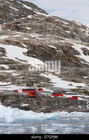 La base Argentine Primavera, Cierva Cove, l'Antarctique Banque D'Images