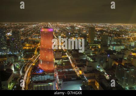 Floride, FL, Sud, Miami, aérien, vue, depuis le centre financier du Sud-est, centre-ville, horizon, soirée nocturne nocturne, bâtiments, horizon de la ville