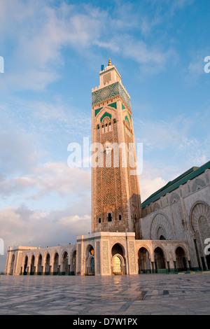 L'extérieur de la Mosquée Hassan II, Casablanca, Maroc, Afrique du Nord Banque D'Images