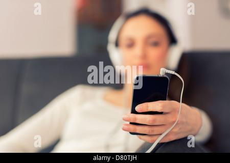 Lecteur audio net au premier plan Banque D'Images