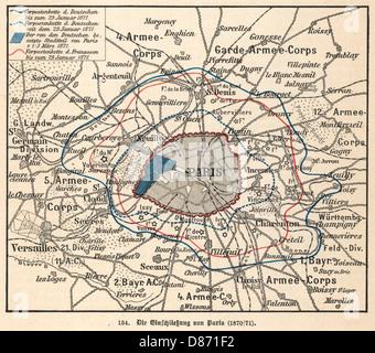 Siège de Paris Map 1870 Banque D'Images