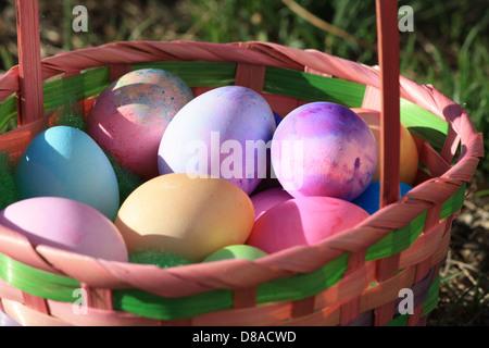 Dans le panier de Pâques les oeufs colorés.