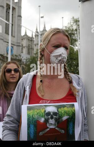 Londres, Royaume-Uni. 25 mai, 2013. Les manifestants lors d'une manifestation contre Monsanto's production de denrées alimentaires à l'extérieur, sur la place du Parlement Crédit: Mario Mitsis / Alamy Live News