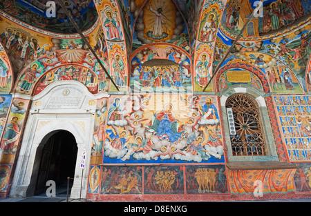 L'Europe, la Bulgarie, les fresques au Monastère de Rila, classé au Patrimoine Mondial de l'Unesco Banque D'Images