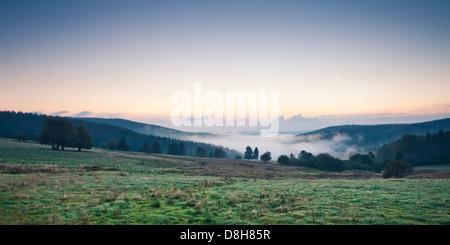 Voir dans la vallée le matin, Neuhaus am Rennweg, Sonneberg, forêt de Thuringe, Thuringe, Allemagne Banque D'Images