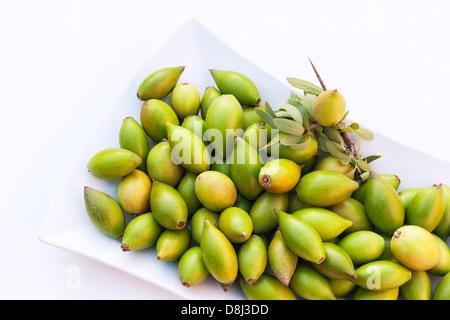 Les noix d'argan dans une assiette blanche. Banque D'Images