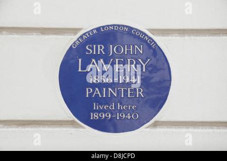 Greater London Council blue plaque pour le peintre Sir John Lavery, 5 Cromwell Place, South Kensington, London SW7, UK
