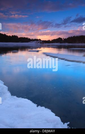 Paysage d'hiver à Larkollen à Rygge kommune, Østfold fylke, la Norvège. Banque D'Images