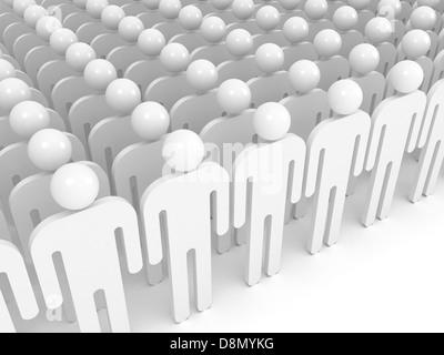 Tableau de résumé blanc les gens. Foule concept illustration Banque D'Images