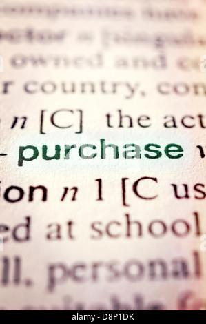 Concept d'achat en word tag . Selective focus au milieu de mot Banque D'Images
